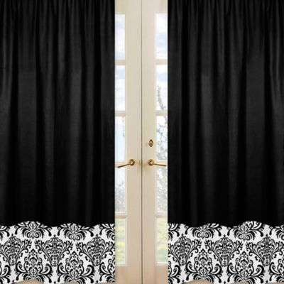 sweet jojo designs isabella window panel pair in blackwhite