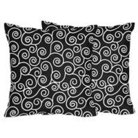 Sweet Jojo Designs Kaylee Scroll Print Throw Pillows in Black/White (Set of 2)