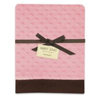 Sweet Jojo Designs Minky Dot and Satin Baby Blanket in Pink/Brown