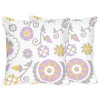 Sweet Jojo Designs Lavender and White Print Suzanna Throw Pillows (Set of 2)