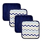 Just Bath™ by Just Born® 4-Pack Chevron Washcloths in White/Navy