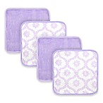 Just Bath™ by Just Born® 4-Pack Trellis Washcloths in White/Lilac