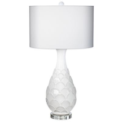 Pacific Coast Lighting Pacific Fan Table Lamp in White with Linen Shade