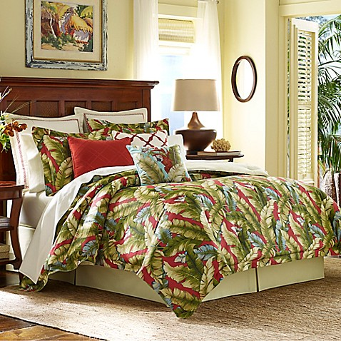 Tommy bahama anguilla comforter set in green red bed Tommy bahama bedding