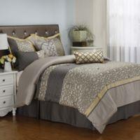 Joseline 7-Piece Queen Comforter Set in Grey/Buttercup