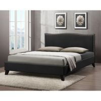 Battersby Designer Full Bed with Upholstered Headboard in Black