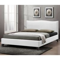 Battersby Designer Full Bed with Upholstered Headboard in White