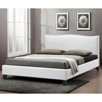 Battersby Designer Full Bed with Upholstered Headboard in White