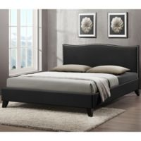 Battersby Designer Queen Bed with Upholstered Headboard in Black