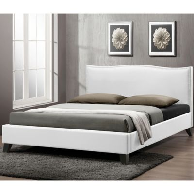 battersby designer queen bed with upholstered headboard in white