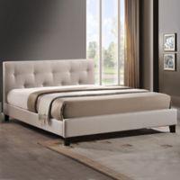Annette Designer Queen Bed with Upholstered Headboard in Light Beige