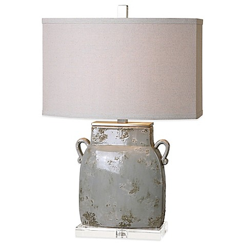 image of Uttermost Melizzano Table Lamp in Ivory/Grey with Linen Shade
