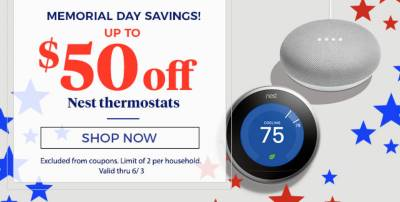 Up to $50 off Nest Thermostats