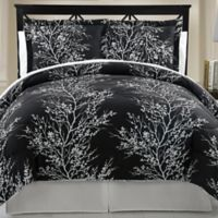 Leaf 8-Piece Reversible Queen Comforter Set in Black/White