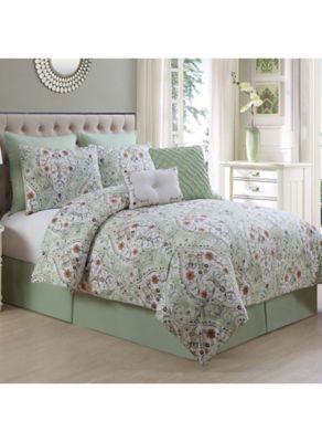Evangeline 8 Piece Queen Comforter Set In Sage