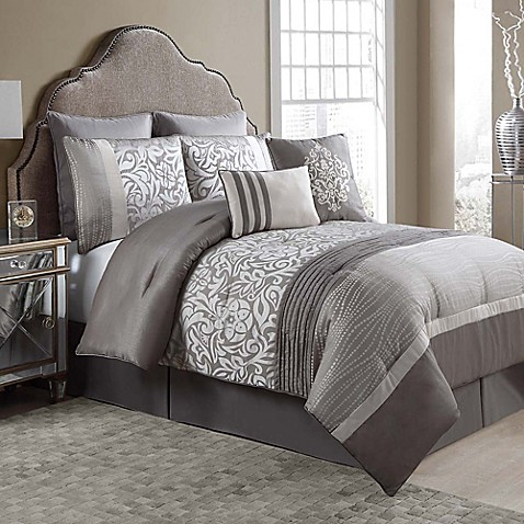 Arcadia 8 Piece Comforter Set In Taupe Ivory Bed Bath