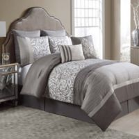 Arcadia 8-Piece Queen Comforter Set in Taupe/Ivory