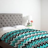 DENY Designs Madart Inc. Turquoise Black White Chevron King Duvet Cover