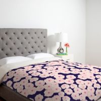 DENY Designs Joy Laforme Floral Sophistication King Duvet Cover in Navy