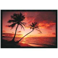 Tropical Beach Sunset Framed Print Wall Art