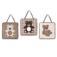 Sweet Jojo Designs Teddy Bear 3-Piece Wall Hanging Set in Chocolate