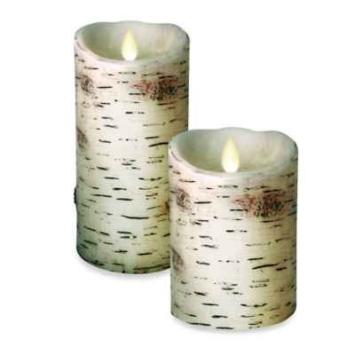 Luminara® Birch Real-Flame Effect Pillar Candle