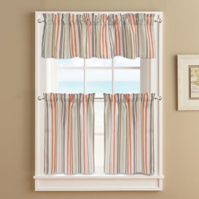 Regatta Stripe 24 Inch Window Curtain Tier Pair In Coral