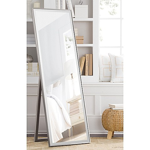 image of Cheval 59.5-Inch x 19-Inch Thin Profile Floor Standing Mirror in Silver