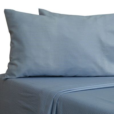 330thread count 100 cotton sateen full sheet set in navy stripe