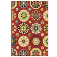 Aria Rugs Veranda Collection 2-Foot 3-Inch x 8-Foot Hubbard Runner in Red