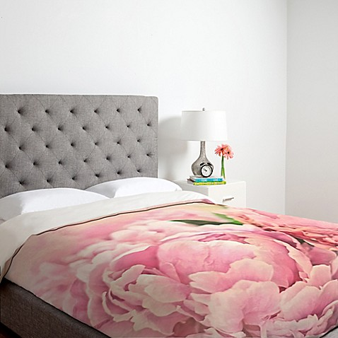 image of Deny Designs Lisa Argyropoulos Pink Peonies Duvet Cover