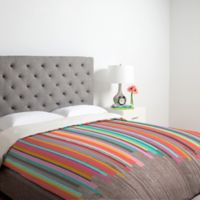 DENY Designs Iveta Abolina Stripe Happy Queen Duvet Cover in Pink
