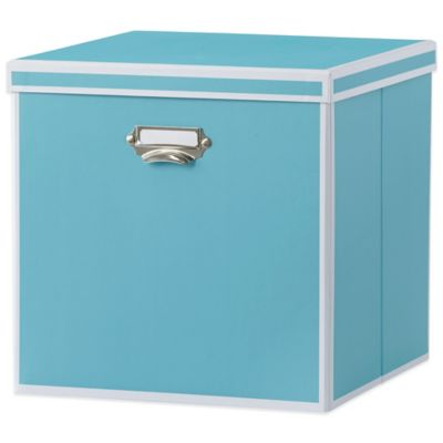 Buy storage boxes with lids from bed bath beyond for Turquoise bathroom bin