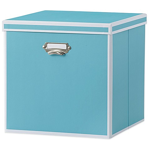 Real simple foldable storage box bin with lid turquoise for Turquoise bathroom bin