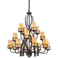 Kyle 16-Light Ceiling-Mount Chandelier in Bronze with Butterscotch Onyx Shades