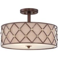 Quoizel Brown Lattice Large Semi-Flush Mount in Copper Canyon