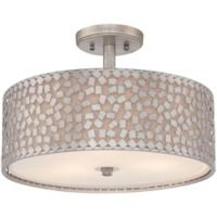 Quoizel Confetti Large Semi-Flush Mount in Old Silver with White Linen Shade
