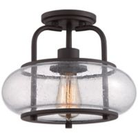Quoizel Trilogy Small Semi-Flush Mount Light in Bronze with Seedy Glass Shade