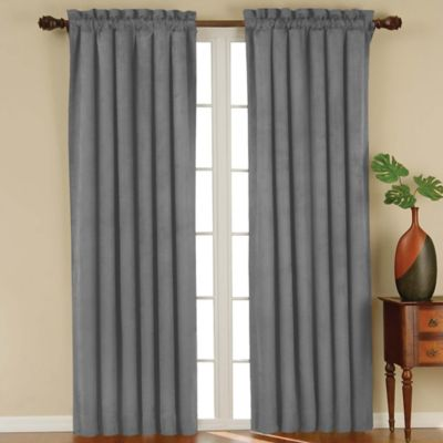 solarshield siena rod pocket 63inch room darkening window curtain panel in charcoal