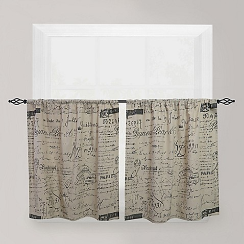 Buy Park B Smith Script Caf 24 Inch Window Curtain Tier Pair In Linen From Bed Bath Beyond