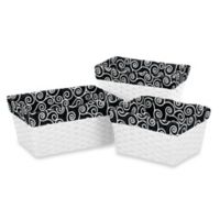 Sweet Jojo Designs Kaylee Scroll Print Basket Liners in Black/White (Set of 3)
