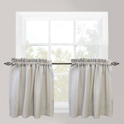 Park B Smith Eyelet Chambray 36 Inch Window Curtain Tier Pair In Silver