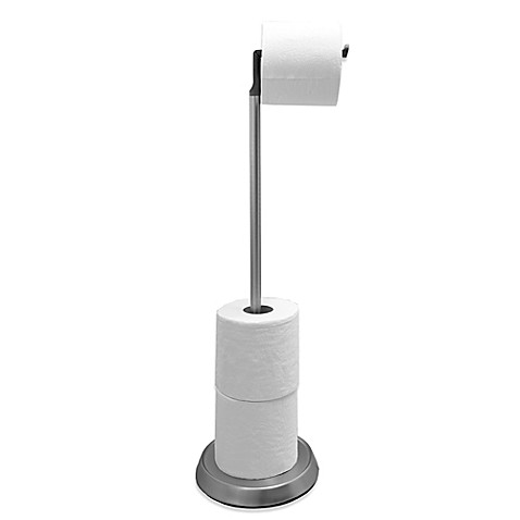 umbra toilet paper stand with silicone head in brushed nickel bed bath beyond. Black Bedroom Furniture Sets. Home Design Ideas