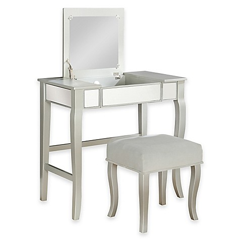 Linon home harper vanity set in silver bed bath beyond - Bed bath and beyond bathroom vanity ...