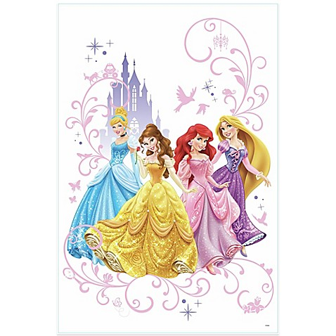 Disney princess peel and stick giant wall decals bed for Barbie princess giant wall mural