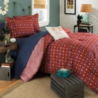 Brooklyn Flat Ceylon Reversible Full/Queen Duvet Cover Set in Red