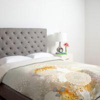 DENY Designs Iveta Abolina White Velvet Twin Duvet Cover in Yellow