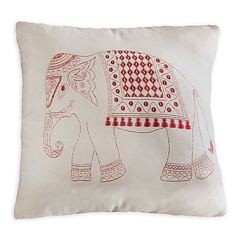 Brooklyn Flat Elephant Square Throw Pillow in Red - Bed Bath & Beyond