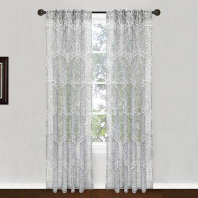 park b smith suzani pinch pleat 84inch window curtain panel pair in silver