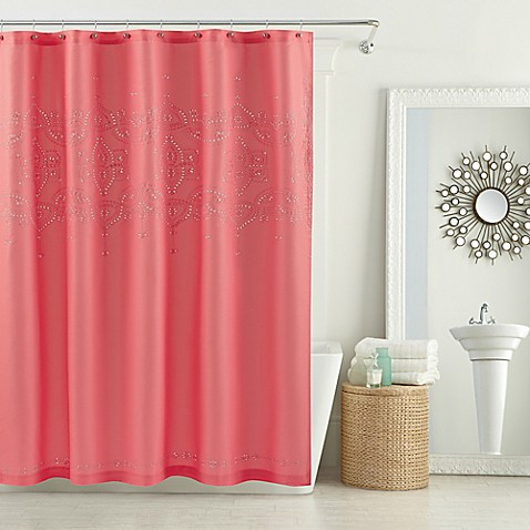 buy anthology scarlet 54 inch x 78 inch stall shower curtain in coral from bed bath beyond. Black Bedroom Furniture Sets. Home Design Ideas